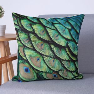 Digital Print Decorative Cushion/Pillow with Peacock Pattern (MX-68) pictures & photos