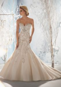 Beaded Raised Embroidery on Net with Taffeta Empire A-Line Bridal Wedding Dresses (WMA3045) pictures & photos