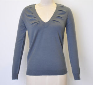 100%Wool Spring V-Neck Pure Color Knit Women Sweater pictures & photos