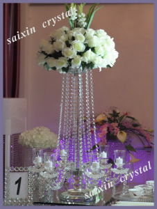 Wedding Decor Tall Crystal Candle Holder with Flower Bowl Zt-153