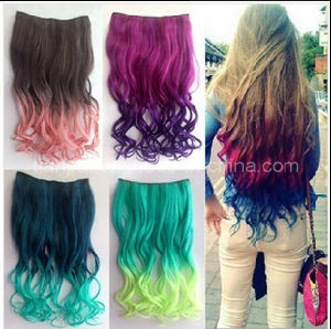 2015 New Fashion Ombre Rainbow Color Clip on Hair Extension