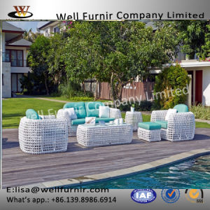 Well Furnir T-012 Elegant Outdoor Coastal Ivory Color Rattan Sofa pictures & photos