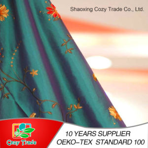 100%Polyester Taffeta, Nylon+Polyester Taffeta Fabric with Flower Embroidery Fabric for Curtain Cushion Tablecloth and Other Decoration pictures & photos