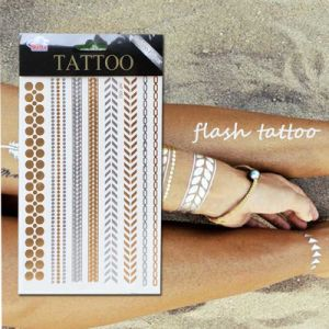 Hot Sale Metal Gold Silver Temporary Flash Tattoo Disposable pictures & photos