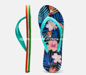 Fashion Colorful Print Flip Flops for Ladies pictures & photos