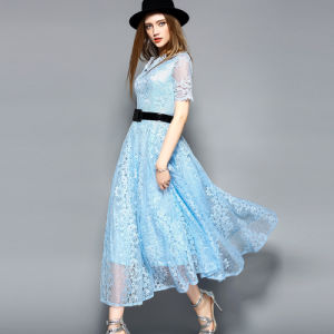 Black Hot Sale Belted Lace Dress for Women Clothes pictures & photos