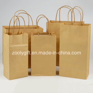 Wholesale Cheap Recycle Brown Kraft Paper Gift Carrier Bags with Twisted Handle pictures & photos