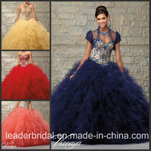 Coral Red Ruffed Ball Gown Blue Gold Embroidery Quinceanera Dress Ld15218 pictures & photos