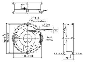 200X200X70mm Aluminum Housing Plastic Impeller DC20070 Axial Fan pictures & photos