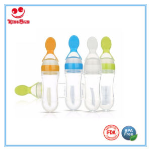 90ml Silicone Feeding Bottles with Spoon for Feeding Baby pictures & photos