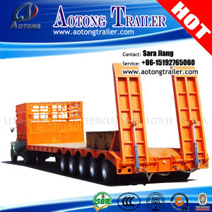 Construction Machine/Container Transport 80tons Low Bed Truck Trailer for Sale pictures & photos