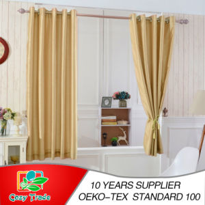 Plain Faux Silk Curtains, 100% Polyester Slub Silk Curtains Full Line pictures & photos