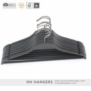 Black Plastic Hanger with Trouser Bar Plastic Clothes Hanger Hangers for Jeans pictures & photos