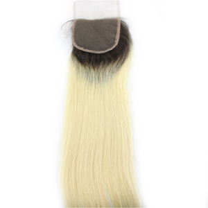 20 Inch Ombre Blck Blonde Remy Hair Lace Closure 4*4 Two Tone White Human Hair Lace Closure