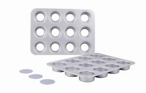 China Bakeware Aluminum Anodized 12 Hole Muffin Pan Loose