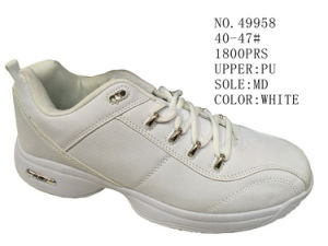 No. 49958 Big Size White Men′s Sport Stock Shoes pictures & photos