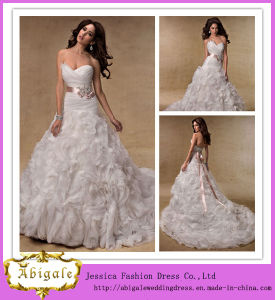 Best Selling White Luxury Beautiful Sweetheart Open Back Layered Organza Skirt Ball Gown Wedding Dresses (MN1028)