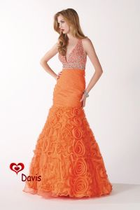 Orange Mermaid Organza Prom Dress (PD-1621)