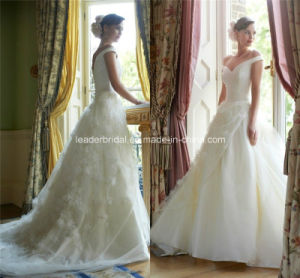 off-Shoulder Ball Gowns Applique Lace Wedding Dresses Z5056 pictures & photos