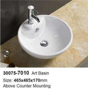 Hotel Lavatory Over Counter Mounting Ceramic Wash Basin (30075) pictures & photos