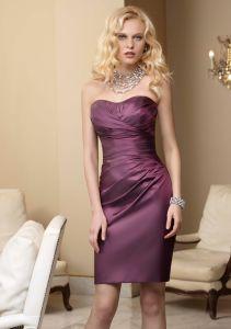 Strapless Taffeta Asymmetrically Draped Homecoming Bridesmaid Fashion Dresses (FD3016) pictures & photos