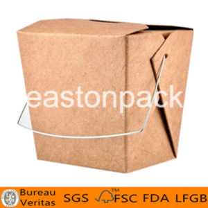 32oz Disposable Kraft Take out Square Bottom Paper Noodle Box with Iron Handle pictures & photos