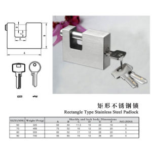 High Quality Stainless Steel Rectangle Padlock (PS01) pictures & photos