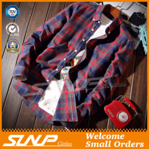 Men′s Fashion Plaid Checked Flannel Shirt Clothes