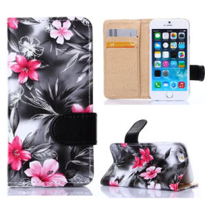 Mobile PU Leather Case for iPhone Mobile Phone, Flower Phone Case Stand Wallet Leather Case