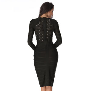 Long Sleeve Celebrity Bandage Dress for Party pictures & photos