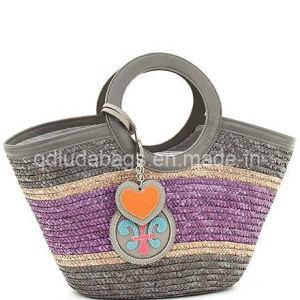 2015 Elegent Striped Wheat Straw Tote Handbag