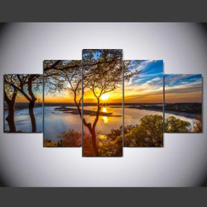 5 Panel HD Printed Tree Painting Painting on Canvas Decoration Print Poster Picture Canvas Framed Ym-002 pictures & photos