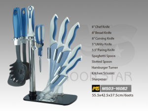 PP Handle Kitchen Knife Set with Fashionable Stand (MS03-16082) pictures & photos