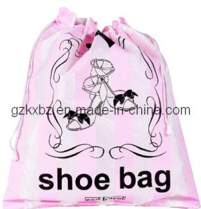 Double Drawstrings Custom Satin Shoe Bag (KX-JS187)