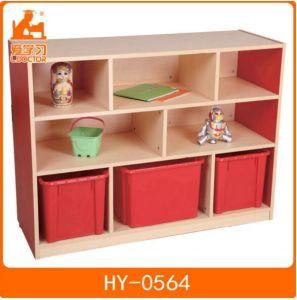 Wooden Children Plastic Storage Shelf of Kids Furniture pictures & photos