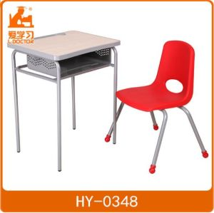 Standard Size School Wooden Metal Desk with Plastic Chair pictures & photos