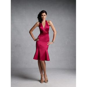 a-Line Halter Teal-Length Satin Bridesmaid Dress (WPD110224009)