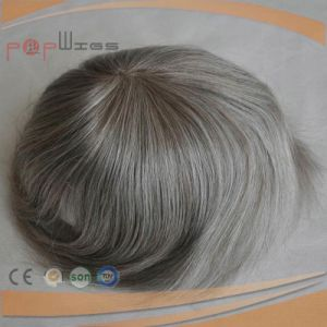 Human Hair Grey Hair Poly Coated Perimeter Border Mens Wig pictures & photos