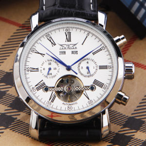 Auto Date Tourbillon Black Leather Strap Mens Automatic Mechanical Watch