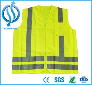 100% Poltyester Yellow Safety Vest with Mutilple Pockets pictures & photos
