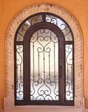 Round Top Wrought Iron Single Door with Transom pictures & photos