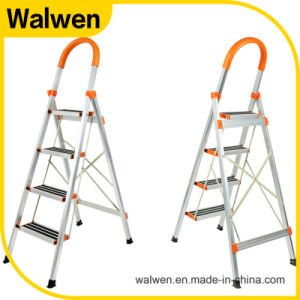 Household Folding Stainless Steel 3 Step Ladders with Color Bar pictures & photos
