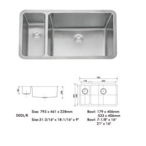 Stainless Steel Kitchen Sink, Doulbe Bowl - (D02) pictures & photos