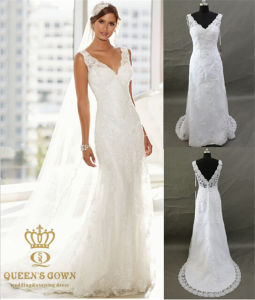 V Neck Wedding Bridal Dress with Lace Trim and Applique pictures & photos