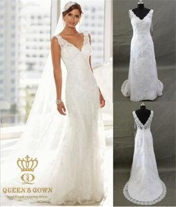 V Neck Wedding Bridal Dress with Lace Trim and Applique