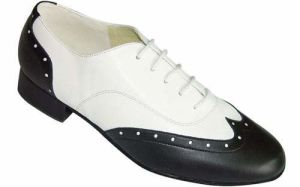 Black&White Leather Men′s Standard Dance Shoes pictures & photos