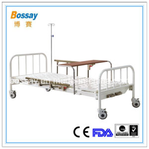 Hospital Manual Bed with Over Bed Table Medical Bed pictures & photos