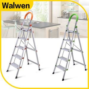 Folding Ligthweight Steel Step Ladder with Safe Rail pictures & photos