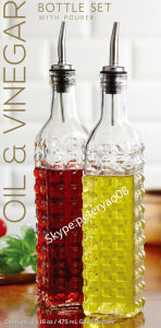 Glass Oil Bottle Vinegar Bottle Olive Bottle with Metal Pourer Glass Jar Glass Storage Jar pictures & photos