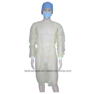 PP Yellow Isolation Gown with Knitted Cuffs pictures & photos